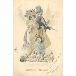 2 Cpa M. VIENNE. Joyeuses Pâques et Heureuse Année 1904