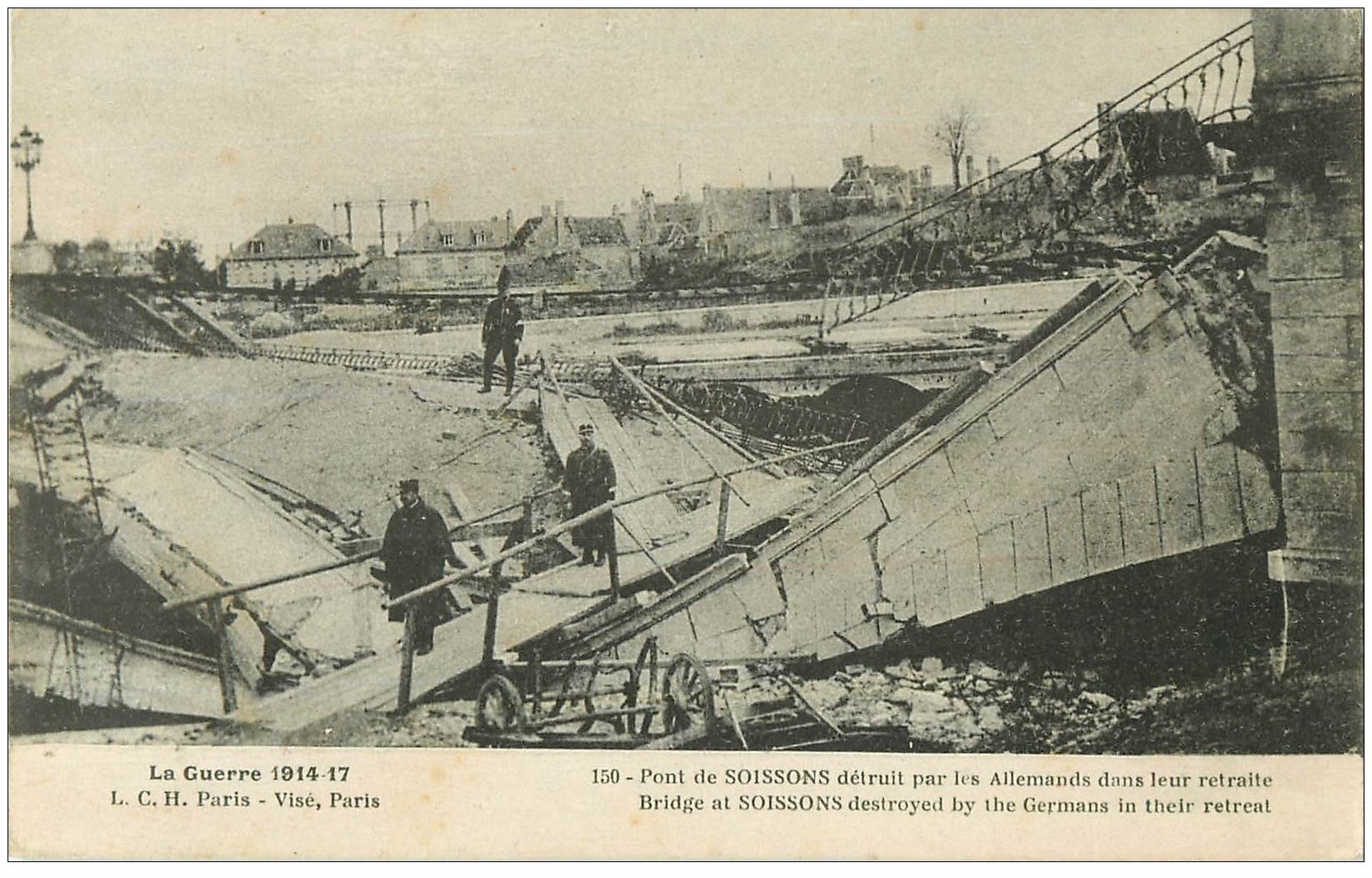 carte postale ancienne 02 SOISSONS. Pont de Soissons 1917
