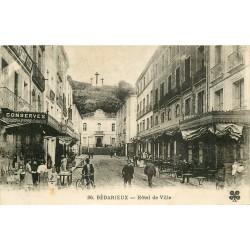 34 BEDARIEUX. Hôtel de Ville et magasin Félix Potin 1928 avec Grand Café Poujol