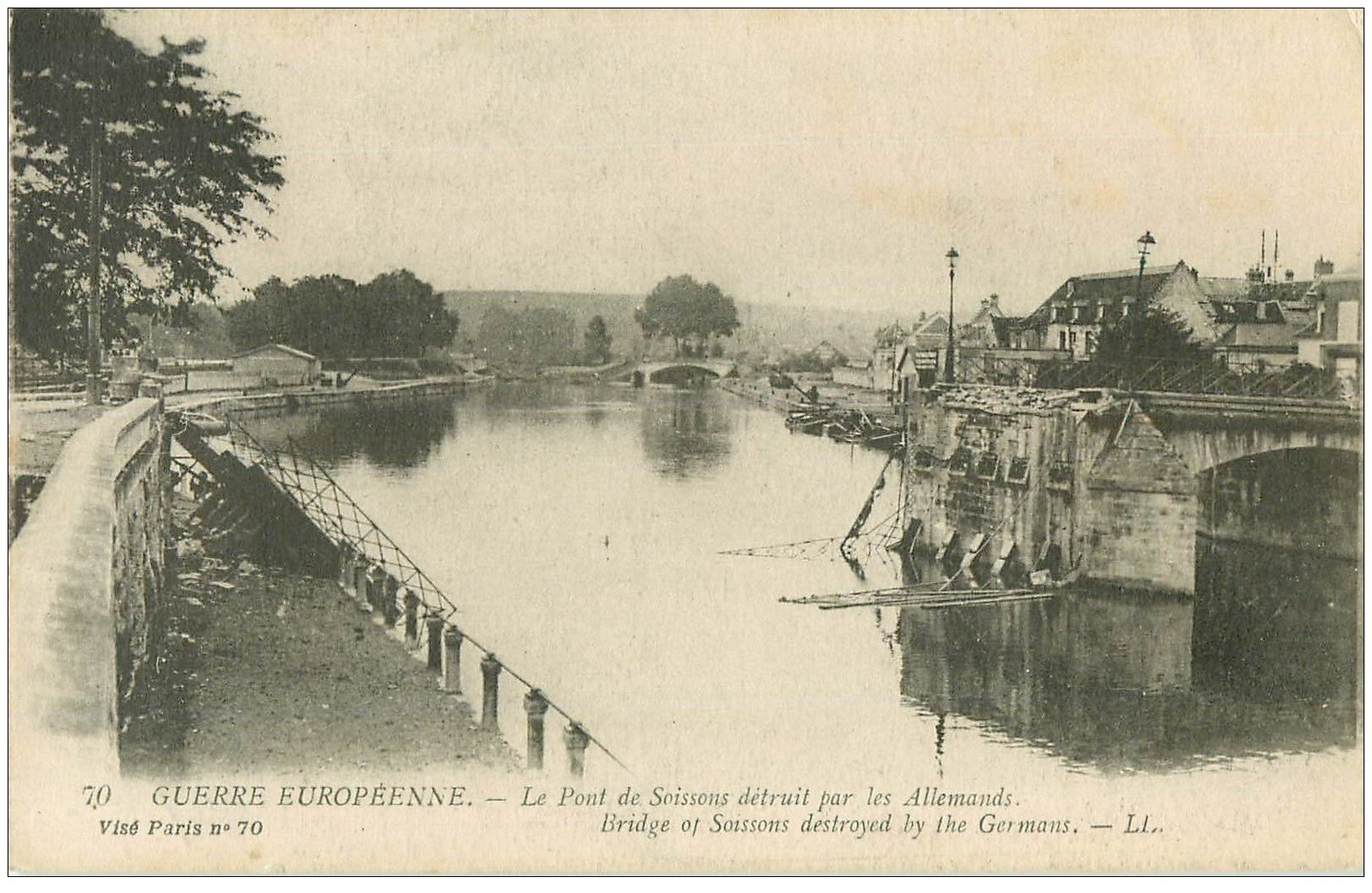 carte postale ancienne 02 SOISSONS. Pont de Soissons 1917 détruit