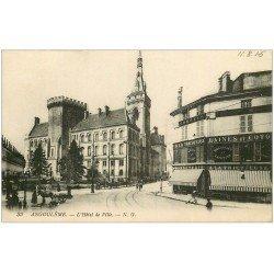 carte postale ancienne 16 ANGOULEME. Hôtel de Ville et à La Tricoteuse. tampon Militaire 1915