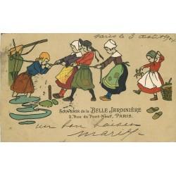 BELLE JARDINIERE 2 rue du Pont Neuf à Paris 1904. Bretons et Bretonnes halant un Bateau