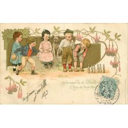 """Publicité """" BELLE JARDINIERE """" 2 rue du Pont Neuf à Paris 1904 Jeux d'enfants les quilles"""