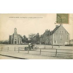 14 LITTRY-LA-MINE. Chapelle et Poste sur Jardin public avec voiture ancienne 1917
