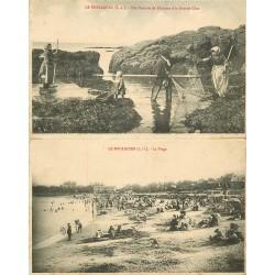44 LE POULIGUEN. Famille de Pêcheurs de Crevettes et la Plage 1912