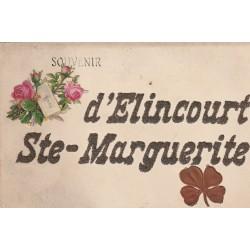 2 x Cpa 60 ELINCOURT-SAINTE-MARGUERITE. Souvenir écriture paillettes ajout et Prieuré