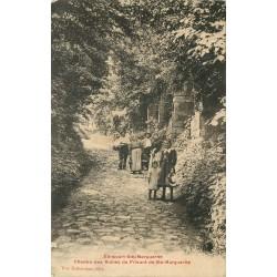 2 x Cpa 60 ELINCOURT-SAINTE-MARGUERITE. Chemin Ruines Prieuré et le Moulin 1909