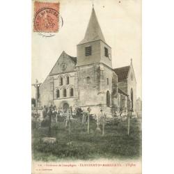 2 x Cpa 60 ELINCOURT-SAINTE-MARGUERITE. Cimetière et intérieur de l'Eglise 1905