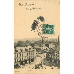 03 COMMENTRY. Montage avec femme survolant la Ville avec son parapluie 1909
