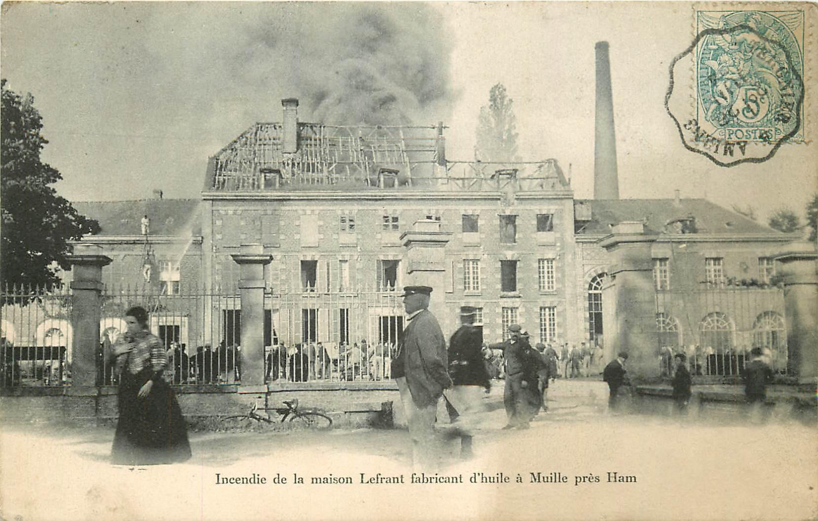 80 MUILLE. Incendie maison Lefrant fabricant d'huile 1904