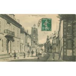 51 SEZANNE. Grande Rue bien animée 1907 destinataire Rolet boucher à Paris