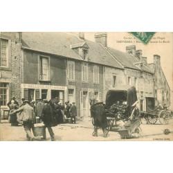 14 TREVIERES. Marché au beurre avec attelage devant Restaurant Hellouin 1907