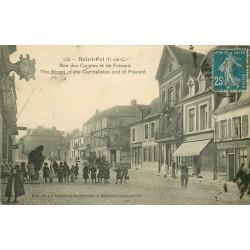 62 SAINT-POL SUR TERNOISE. Rue des Carmes et de Frévent 1922 Café du Commerce