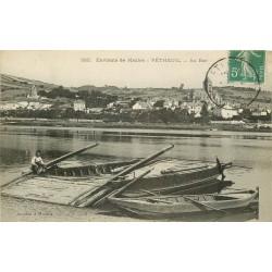 95 VETHEUIL. Les barges du Passeur au Bac vers 1908
