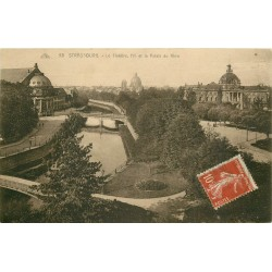 2 x Cpa 67 STRASBOURG. Théâtre, Université et Palais du Rhin 1922