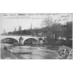 carte postale ancienne 16 ANGOULEME. Le Pont Saint-Cybard 1918. Carte vert amande