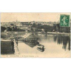 carte postale ancienne 16 ANGOULEME. Le Port de l'Houmeau 1912. Péniche Lavoir