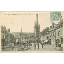 59 SOLRE-LE-CHÂTEAU. Place Fermauwez bien animée 1906