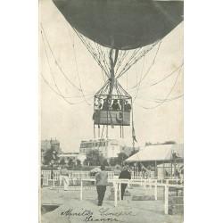 75016 PARIS. Un aérostat ballon captif avec sa nacelle à la Porte Maillot 1906