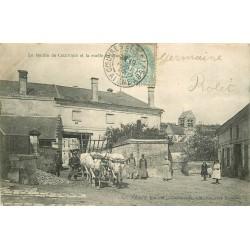 02 COEUVRES. Le Moulin et avec attelage de Boeufs sur la Ruelle 1905