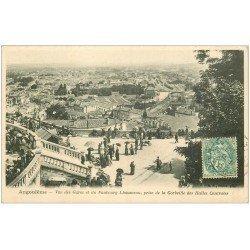 carte postale ancienne 16 ANGOULEME. Les Gares et Faubourg Lhoumeau vus Corbeille des Halles Centrales vers 1905