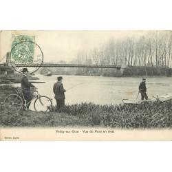 60 PRECY-SUR-OISE. Pont en Aval avec Pêcheurs et cycliste 1907