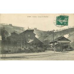 12 AUBIN. Aciéries Lavage du Charbon avec wagonnet tiré par deux chevaux