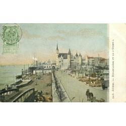 2 x Cpa ANVERS. Steen au Débarcadère et Gare Centrale avenue de Keyser 1906