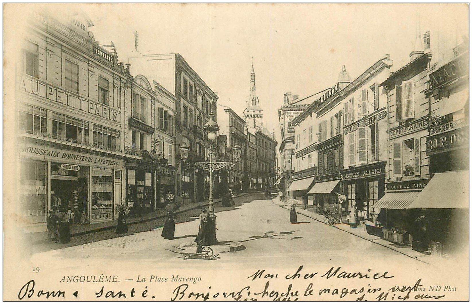 carte postale ancienne 16 ANGOULEME. Place Marengo 1902. Trousseau au Petit Paris