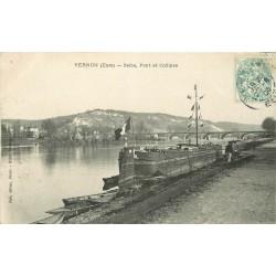 27 VERNON. Pont et Collines avec Péniche amarrée 1906