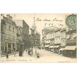 carte postale ancienne 16 ANGOULEME. Place Marengo 1906. Au Petit Paris et à la Grande Maison