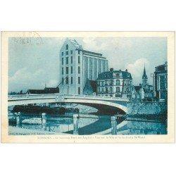 carte postale ancienne 02 SOISSONS. Pont des Anglais. Silo et Faubourg Saint-Waast vers 1933