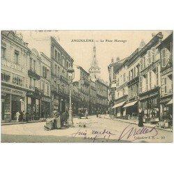 carte postale ancienne 16 ANGOULEME. Place Marengo 1906. Vendeuse ambulante et attelage de Vendeur