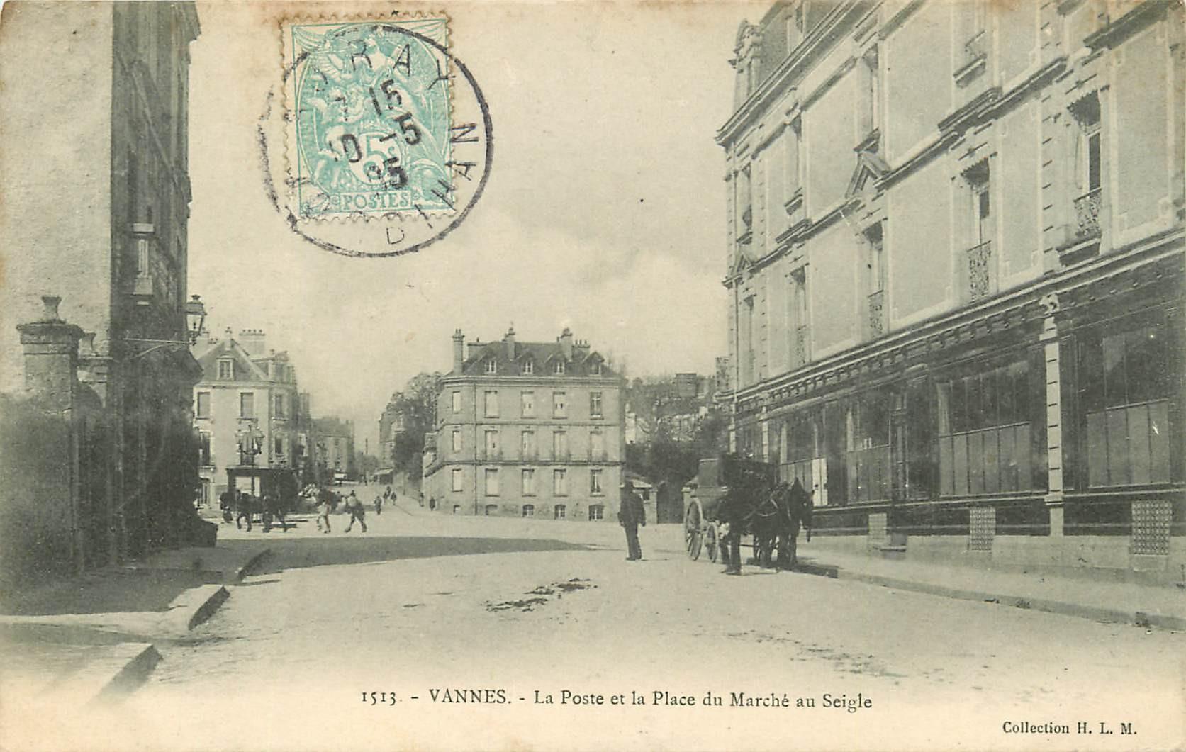 56 VANNES. La Poste et Place du Marché au Seigle 1905