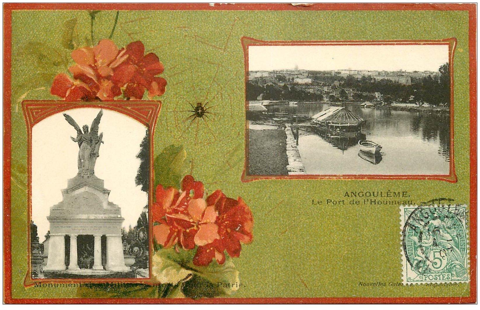 carte postale ancienne 16 ANGOULEME. Port de l'Houmeau et Monument Militaire 1907. Collection Nouvelles Galeries