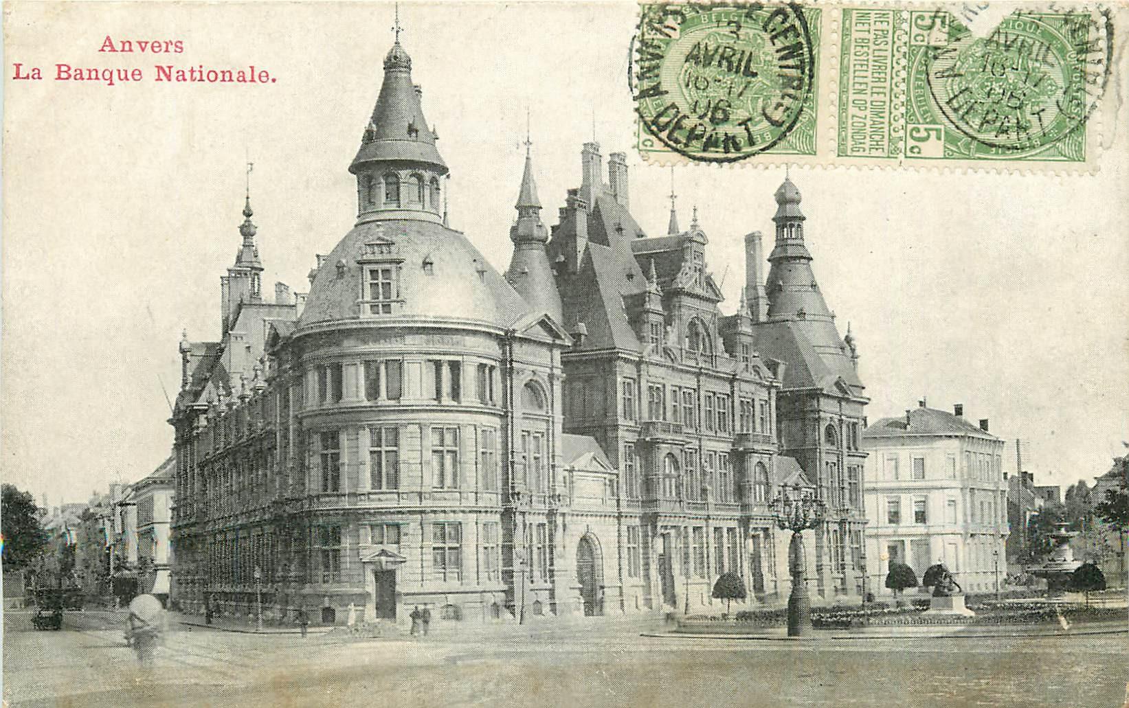 sur fortunapost.com ANVERS. La Banque Nationale 1906 carte postale ancienne