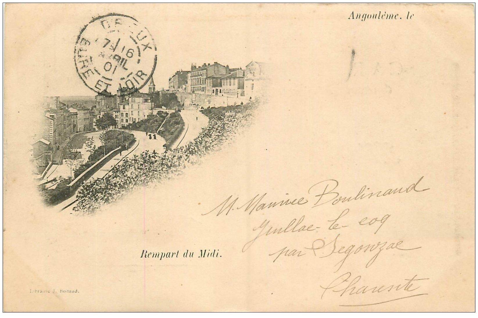 carte postale ancienne 16 ANGOULEME. Rare, Remparts du Midi. Carte Pionnière 1901