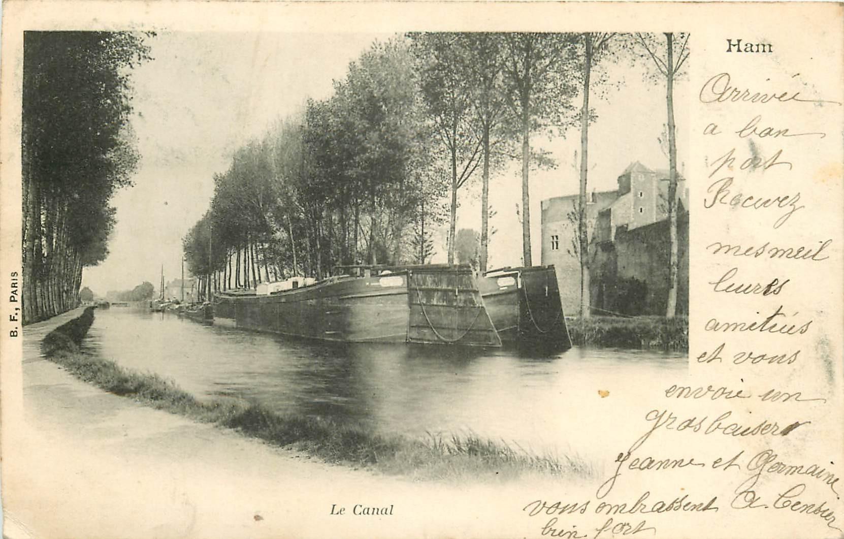 80 HAM. Le Canal avec Péniches 1903