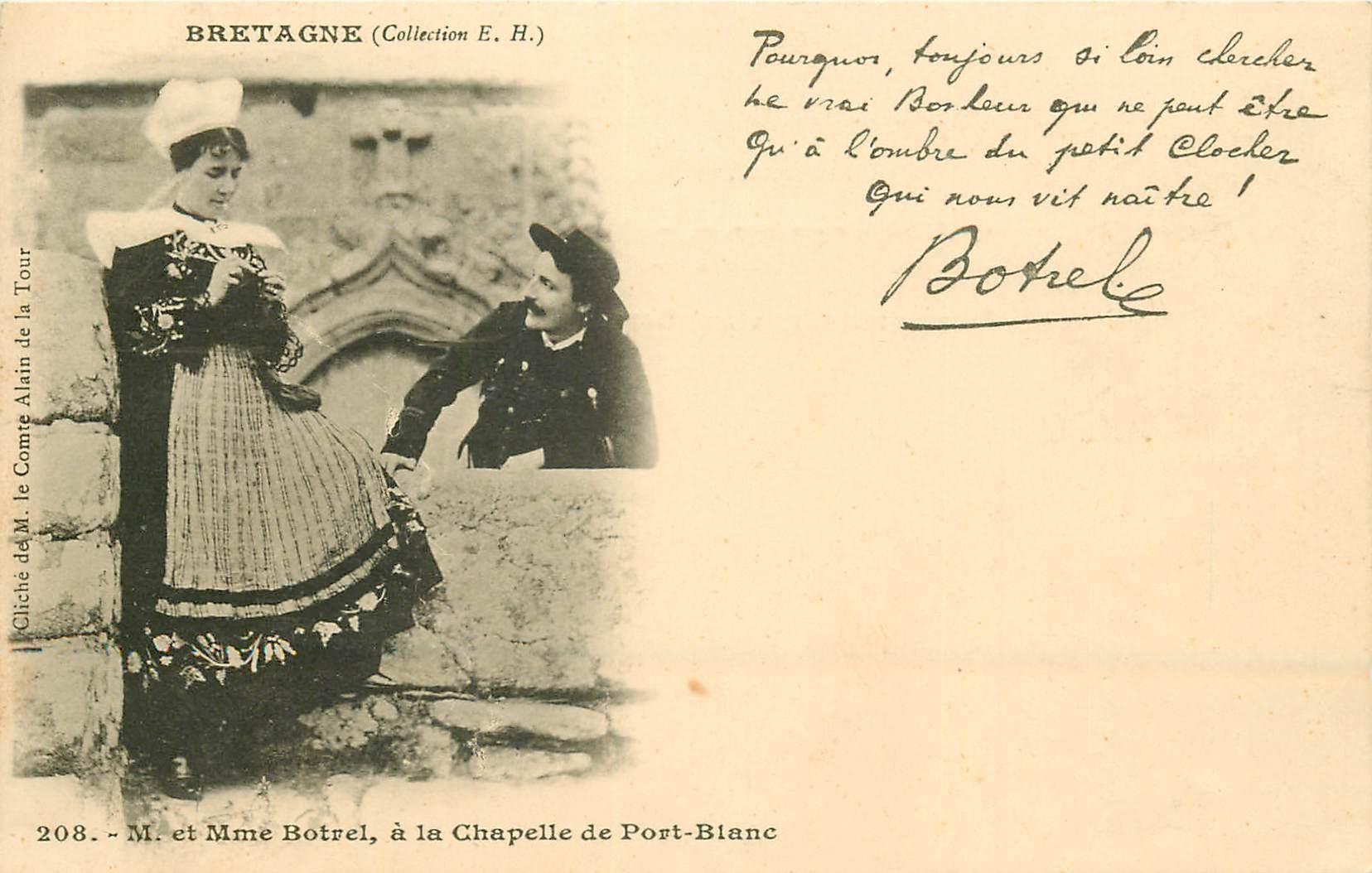 22 PORT-BLANC. M. et Mme Botrel à la Chapelle vers 1900