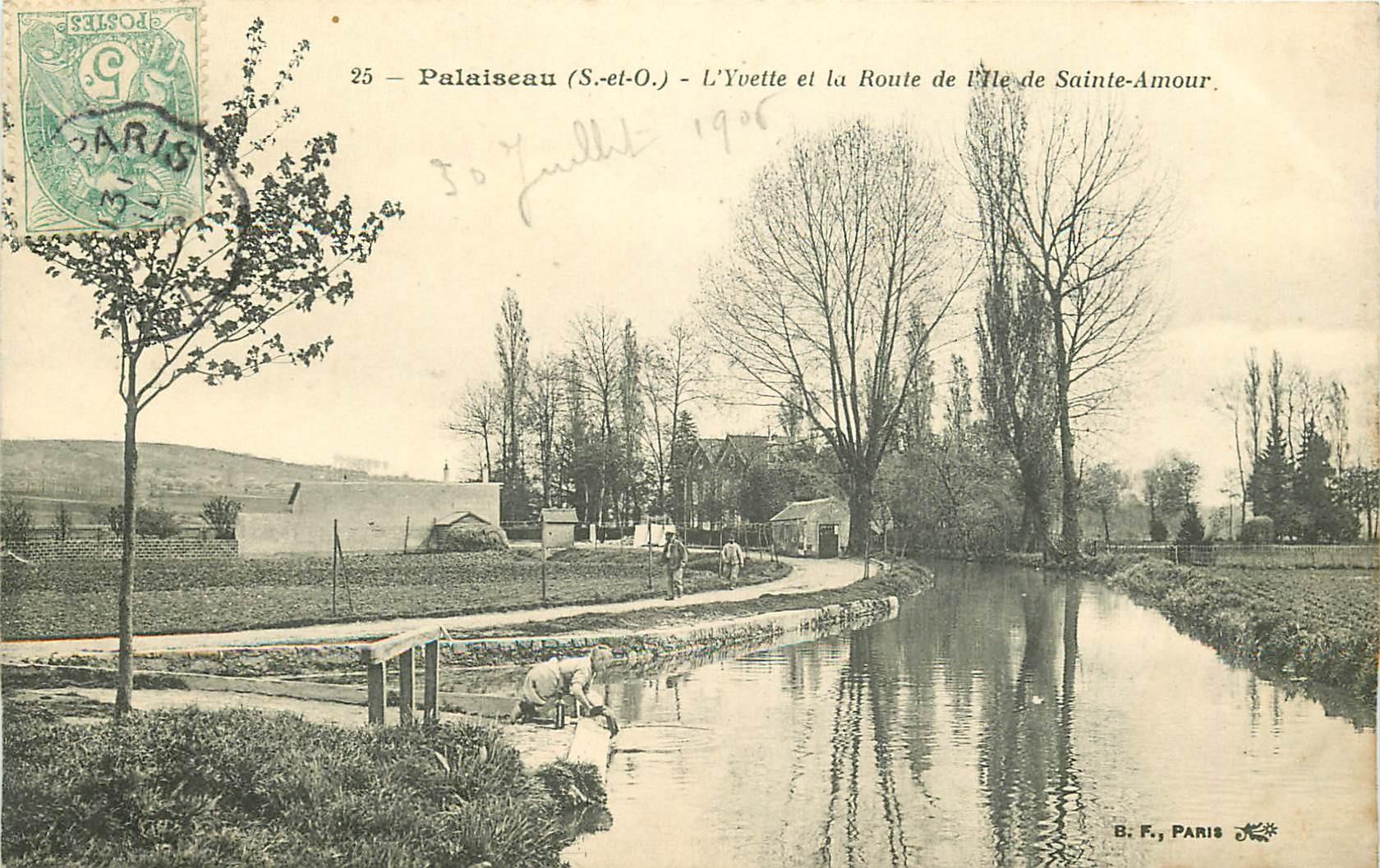 91 PALAISEAU. Yvette et Route de l'Ile de Sainte-Amour 1905