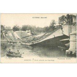 carte postale ancienne 02 SOISSONS. Pont Neuf démoli avec le Génie dans barque