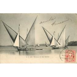 Suisse. Barques de Pêcheurs sur le Lac Léman 1905