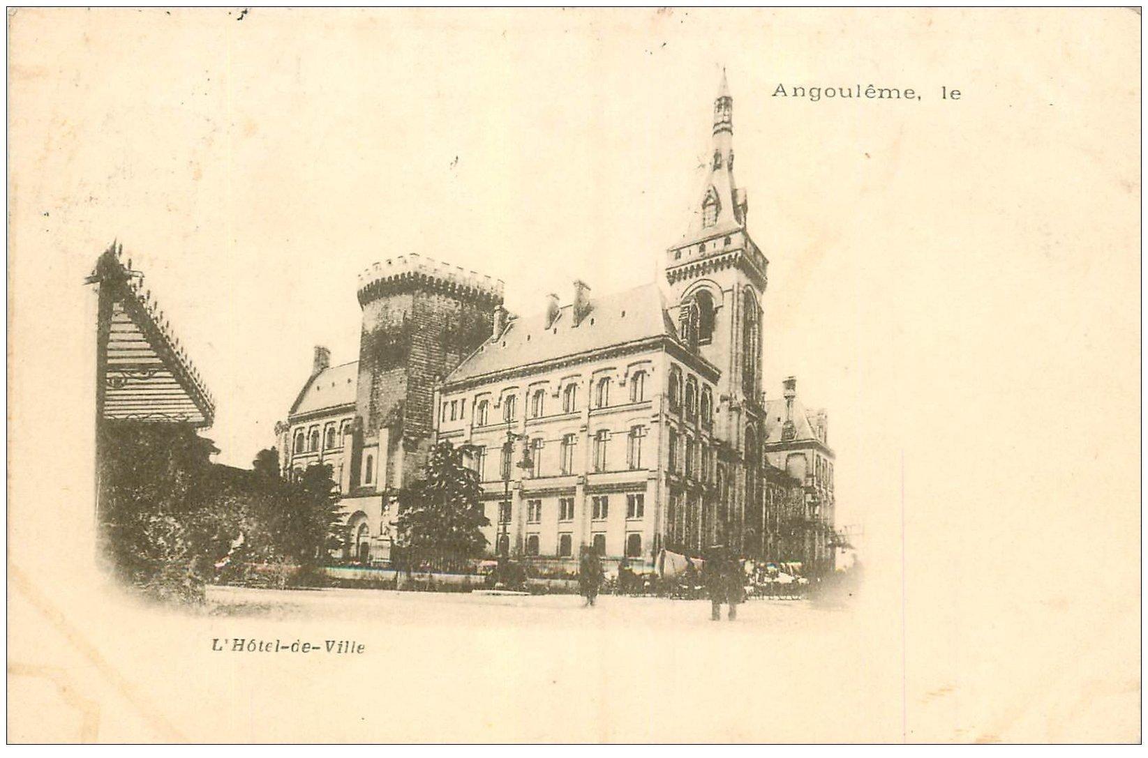 carte postale ancienne 16 ANGOULEME. Superbe, Hôtel de Ville. Carte Pionnière 1901