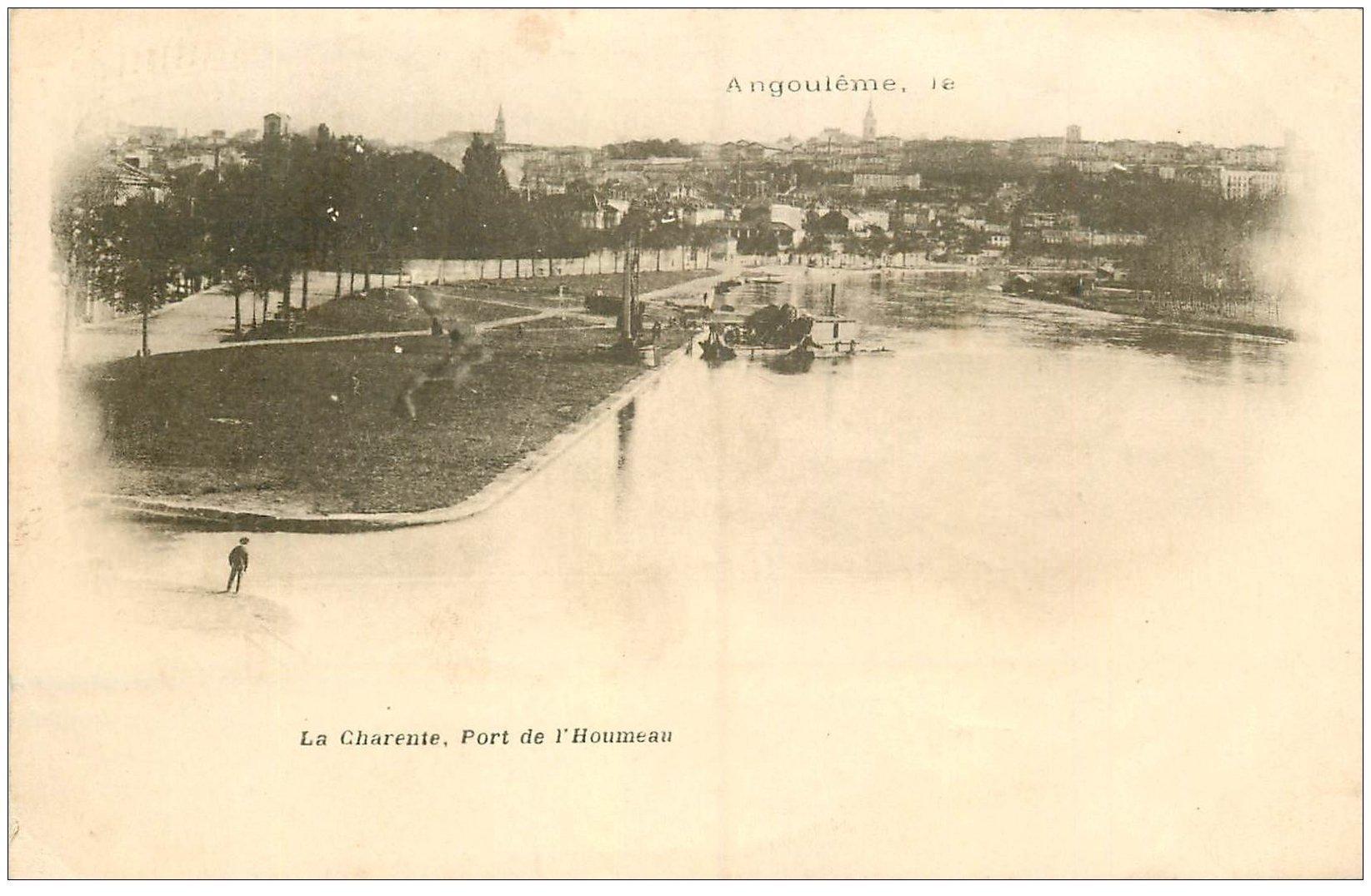 carte postale ancienne 16 ANGOULEME. Superbe, Port de l'Houmeau. Carte Pionnière 1901