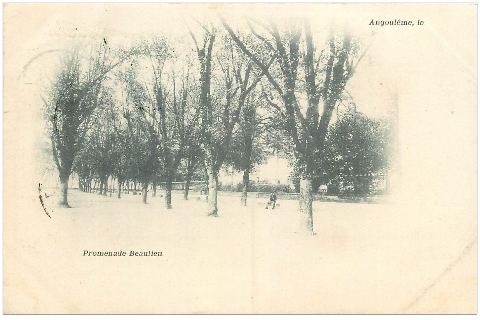 carte postale ancienne 16 ANGOULEME. Superbe, Promenade Beaulieu. Carte Pionnière 1901
