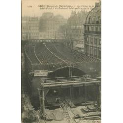 PARIS METROPOLITAIN. Les Travaux Fermes Place Saint-Michel et boulevard Saint-André avant le Fonçage