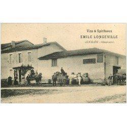 carte postale ancienne 16 ANSAC. RARE Vins et Spiritueux Emile Longeville. Attelage transports de Tonneaux