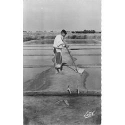 Photo Cpsm 17 ILE DE RE. Paludier dans les Marais Salants 1955