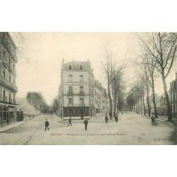 35 RENNES. Café de France Boulevard de la Liberté et rue Poulain Duparc 1905