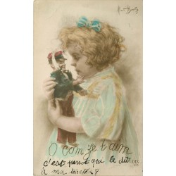 "Illustrateur Albert Beerts "" O com ze t aime - fillette et figurine de soldat"